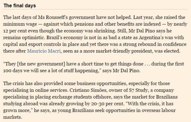 Financial Times - 16 de maio CRESCENDO NA CRISE